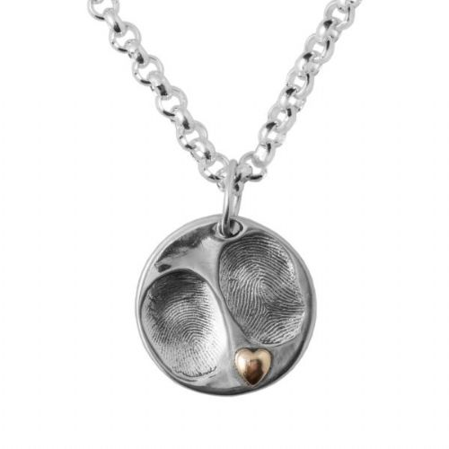 Gold Heart Fingerprint Slimline Belcher Necklace